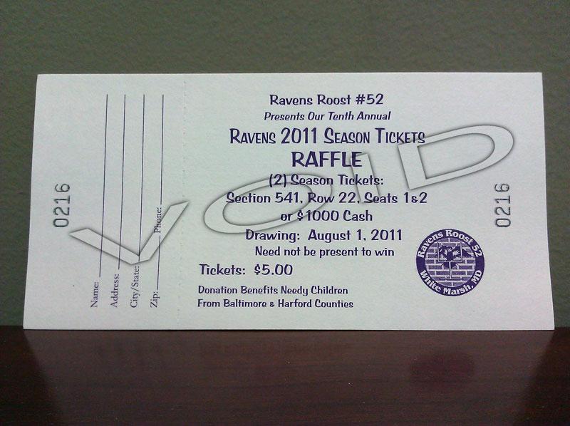 Ravens 2011 Season Tickets Raffle