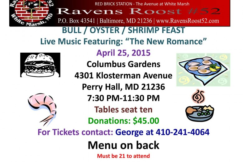 2015 Bull, Oyster & Shrimp Feast w/Live Music by THE NEW ROMANCE